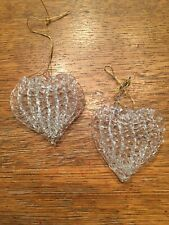 "Heart Decor Xmas Glass Ornament Wedding Holiday Handcrafted 2.25"" NEW"