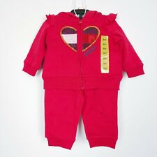 TOMMY HILFIGER Baby Girl's 2PCS Hoodie Jogger Pant Red Heart Fleece Size 6m