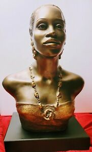 VTG ALICE HEATH/ECILA RARE~ELEGANT STUDY~BUST- BLACK LADY/AUSTIN SCULPTURES 1994