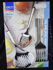 EKCO 5-Piece SS Kitchen Tool Set Basting Slotted Spoons Turner Skimmer Fork NIB
