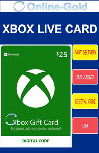 25 USD Microsoft Xbox Live Card - $25 ms Xbox 360 / Xbox One Live Card - USA