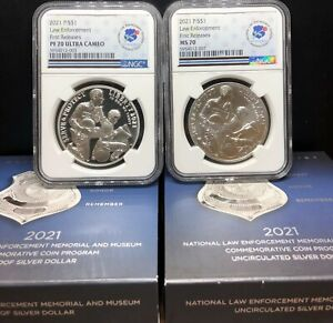 2021 P NATIONAL LAW ENFORCEMENT SILVER $1 PROOF AND UNC. SET NGC PF70UC MS70 FR