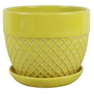 Planter Pot 6 in. Dia Drainage Hole Attached Saucer Handcrafted Ceramic Yellow