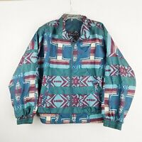 Vintage Aztez Windbreaker Jacket Geometric All Over Print 90s Large womens