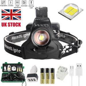 90000Lm XHP50 LED Headlamp Rechargeable Headlight Flashlight Zoom Light 18650