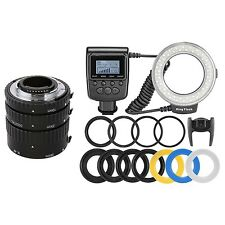 Meike metal Auto Focus Extension Tube + Macro 48 LED Ring Flash Light for Nikon