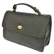 Authentic BALLY Logos Quilted Hand Bag Gray Gold Leather Italy Vintage V10087