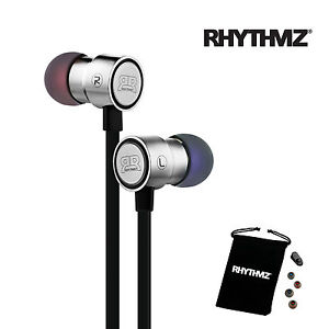 RHYTHMZ HD7 Earphones Headphones with Microphone and Volume Control (Silver)