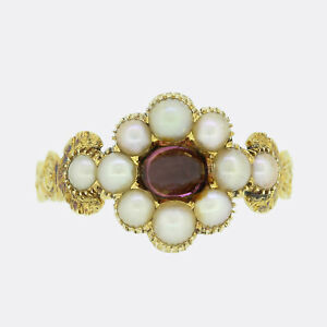 Gold Ruby Ring - Georgian Pearl and Cabochon Ruby Cluster Ring 15ct Yellow Gold