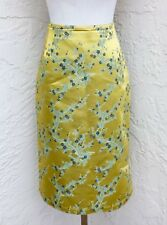 Oilily Light Green Asian Floral Knee Length Skirt A-line Size 36 US Size 6