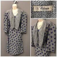 Vintage Debenhams Classics Blue Mix Dress UK 18 EUR 46