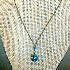 Michal Negrin Choker Necklace Turquoise Green Rhinestone Rondelle Drop Pendant