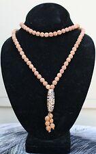 "Long 108 8mm Rudraksha Bodhi Seeds Prayer Beads Mala Necklace 34"" w 9-eye dZi"