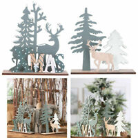 Christmas Wooden Reindeer Xmas Tree Party Ornament Table Room Office Decorations