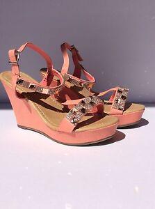 Pink Wedges Beauty Heel Jullian with Diamonds size 6.5