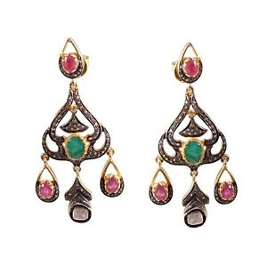 Silver Natural Polki Emerald Real Ruby Gems Rose Cut With Pave Diamond Earrings