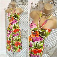 MORGAN DE TOI 💋 UK S Y2K 90'S Bright Tropical Stretch Sun Dress ~Free Postage~