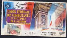TICKET ANNÉE 1955  LOTERIE NATIONALE  les gueules cassées ARC DE TRIOMPHE PARIS