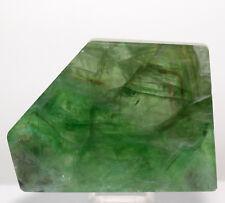 """2.9"""" Green Fluorite Slab Polished Sparkling Quartz Crystal Mineral Slice - China"""