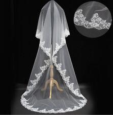 Edel Neu Braut Hochzeit Schleier Brautschleier Blumen Spitzen Ivory