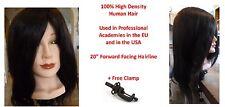 "Blk 100% Genuine High Density Human Hair Cosmetology Female 20"" Training Head"