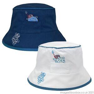 Baby Boys 100% Cotton Summer Bucket Hat Blue or White Turtle Sea 0-6M
