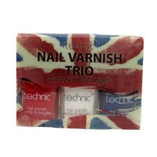 Nail Polish Varnish Set Trio Union Jack Colours Red Blue & White Technic Beauty
