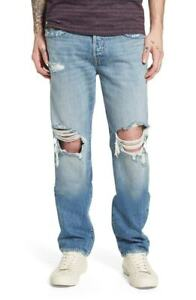 True Religion Men's Geno Relaxed Slim Jeans Size 32 x 34 NWT Delinquent w Rips