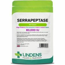 Lindens Serrapeptase 80,000IU 2-PACK 180 Tablets high strength, enteric coated