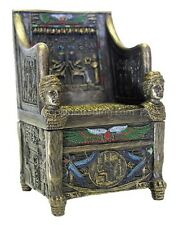 Egyptian Throne Jewelry Box #1~Hand Painted Detail ~ Magnetic Secret Compartment