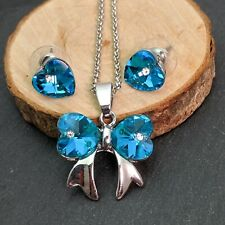 Ribbon And Hearts  Silver Plated Blue Crystal Necklace & Earrings Set