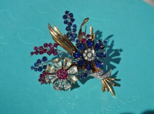 Tiffany & Co. Sapphire, Diamond, Ruby Flower Pin Brooch - 1940's, Vintage, RARE!