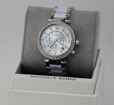 NEW AUTHENTIC MICHAEL KORS PARKER SILVER WHITE CRYSTALS WOMEN'S MK6354 WATCH