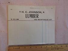 RARE 1910 NEW YORK CITY Brooklyn Heights 189 Montague St Billhead JOHNSON Lumber