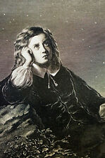Issac Newton Portrait as Child AGE of TWELVE  1881 Antique Art Print Matted