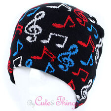 Colorful Music Cleft in Black Beanie Musician Knitted Hat  Stretchable Uni Sex