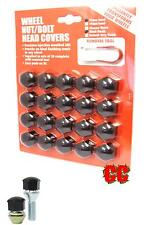 car wheel nut covers caps for alloy wheels bolts studs trim protector BLACK 17mm