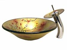 Nature Tempered Grass Faucet Flower Trees Glass Sink Hand Paint Wash Basin Tap