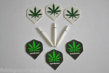 2 SETS OF CANNABIS FLIGHTS AND WHITE DEFLECTAGRIP STEMS
