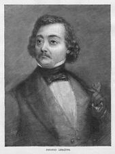 FREDERIC LEMAITRE PORTRAIT, FRENCH ACTOR AND PLAYWRIGHT, 1887 ANTIQUE ENGRAVING