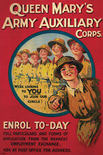 QUEEN MARY'S ARMY AUXILIARY CORPS United Kingdom Recruitment poster print