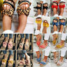 Women Bowknot Espadrille Flat Sandals Slip On Mules Cork Flatform Sliders Shoes