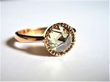 9CT ROSE GOLD ANTIQUE RING WITH 1.3CT ROSE CUT SOLITAIRE BLUE/GREEN MOISSANITE
