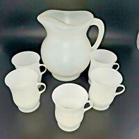 Vintage Kool-Aid Man 2Qt Pitcher And 5 Matching Drink Cups White Plastic Set EUC