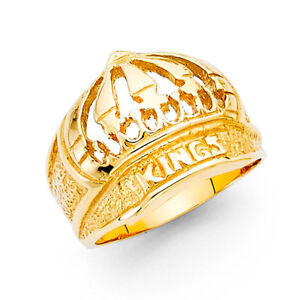 Men 14k Yellow Real Gold Crown Kings Lucky Fashion Anniversary Wedding Ring Band