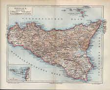 Landkarte pianta map 1908: SIZILIEN. Ägidische Äolische Inseln. Italien Insel Me