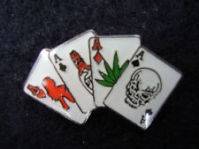 Poker Gambling Cards 4 Aces Hand - Enamel Bikers/Hell's Angels Jacket Pin Badge