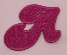Embroidered Glitter Pink Retro Bubble Monogram Letter A Applique Patch Iron On