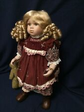 Large Porcelain Doll The Leonardo Collection Dark Red Flowery Dress With Teddy