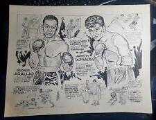 1952 BOB COYNE ORIGINAL CARTOON ART-BOXING-GEORGE ARAUJO JOHNNY GONSALVES-RARE